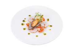 Delicious fresh cooked shrimp and mussel prepared to eat Royalty Free Stock Photography