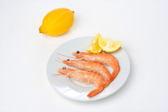 Delicious fresh cooked shrimp prepared Stock Images