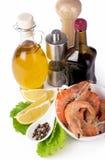 Delicious fresh cooked shrimp prepared to eat Stock Photos