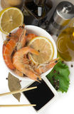 Delicious fresh cooked shrimp prepared to eat Royalty Free Stock Photos