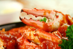Crab In Tomato Sauce Royalty Free Stock Photo