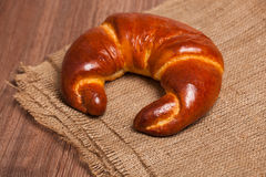Delicious fresh croissant bread on sacking. Delicious fresh croissant bread sacking Stock Photography