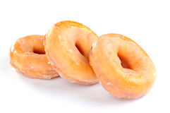 Delicious and fresh donuts for breakfast. On white background Stock Photography