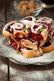 Delicious and fresh-faced cherry pie Stock Images