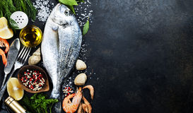 Delicious fresh fish. On dark vintage background. Fish with aromatic herbs, spices and vegetables - healthy food, diet or cooking concept Royalty Free Stock Photos