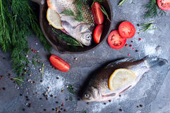 Delicious fresh fish on dark vintage background. Fish with aromatic herbs, spices and vegetables - healthy food, diet or cooking concept Royalty Free Stock Photo
