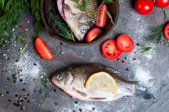 Delicious fresh fish on dark vintage background. Fish with aromatic herbs, spices and vegetables - healthy food, diet or cooking concept Royalty Free Stock Photography