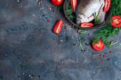 Delicious fresh fish on dark vintage background. Fish with aromatic herbs, spices and vegetables - healthy food, diet or cooking concept Stock Images