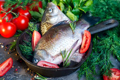 Delicious fresh fish on dark vintage background. Fish with aromatic herbs, spices and vegetables - healthy food, diet or cooking concept Stock Photos