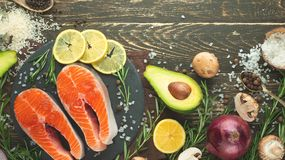 Delicious fresh fish steaks, salmon, trout. Clean and tasty food. Banner stock photo
