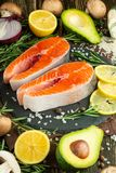 Delicious fresh fish steaks, salmon, trout. Clean and tasty food stock photo