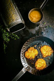Delicious fresh fried potato fritters Stock Images