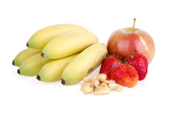 Delicious fresh fruits and cashew nuts Royalty Free Stock Photos