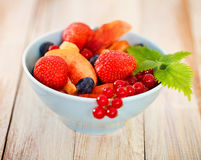 Delicious fresh fruits served in bowl. As dessert Stock Photography