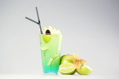 Delicious fresh green cocktail. In studio Royalty Free Stock Photo