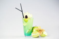Delicious fresh green cocktail. In studio Royalty Free Stock Photography