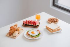 Delicious fresh homemade breakfast on the table Stock Images
