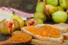 Delicious fresh homemade fig jam Stock Images