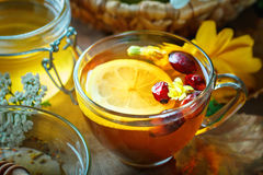Delicious fresh honey and a Cup of healthy tea with lemon and rose hips on a wooden table. Selective focus. Stock Photography