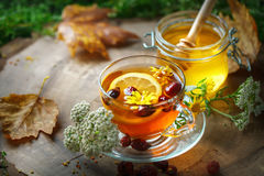 Delicious fresh honey and a Cup of healthy tea with lemon and rose hips on a wooden table. Selective focus. Stock Images