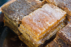 Delicious fresh honeycombs. Seen for sale in Turkish market Royalty Free Stock Photo