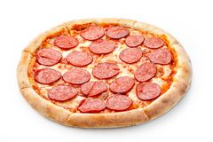 Delicious fresh italian classic original pepperoni pizza isolated on white background Stock Images