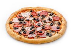 Delicious fresh italian classic original pepperoni pizza isolated on white background. Pizza with pepperoni, bacon and olives. Sid Royalty Free Stock Photos