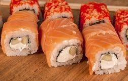 Delicious fresh Japanese sushi rolls . Stock Image