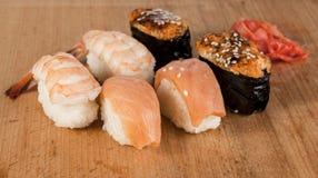 Delicious fresh Japanese sushi rolls . Royalty Free Stock Photo