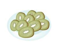 Delicious Fresh Kiwi in A White Plate Stock Image