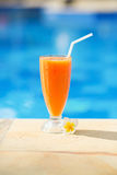 Delicious fresh mango juice on a tropical resort Stock Photography