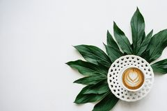 Delicious fresh morning cappuccino coffee in a mug with a flower pattern. Nearby lie the leaves of the plant for Stock Images
