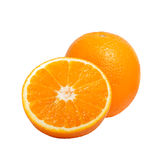 Delicious fresh natural ripe cut oranges isolated on white Stock Photo