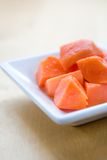 Delicious fresh papaya in plate Royalty Free Stock Photo