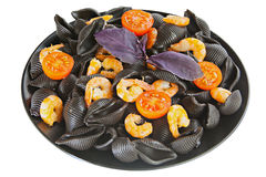 Delicious fresh  pasta Neri on plate with shrimp Royalty Free Stock Photos