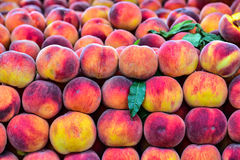 Delicious fresh peaches. Stunning visual presentation on the shelf .Delicious fresh peaches royalty free stock photo