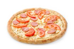 Delicious fresh pizza on a lush dough on a white background. Fresh italian pizza classic original with slices of Stock Images