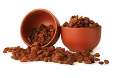 Delicious and fresh raisins isolated on white background, including clipping path without shade. Germany Stock Image