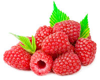 Delicious Fresh raspberries with green leaf isolated on white ba Royalty Free Stock Images