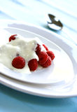 Delicious fresh raspberries served with yogurt. On white plate Stock Photography