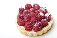 Delicious fresh raspberry fruit tart pastry. Isolated Stock Image
