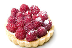 Delicious fresh raspberry fruit tart pastry. Isolated Stock Photos