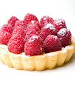 Delicious fresh raspberry fruit tart pastry. Isolated Stock Photo