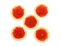 Delicious and fresh red caviar in tartlets. On a white background Royalty Free Stock Photography