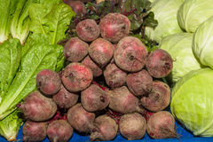 Delicious fresh ripe beetroots. At local fruit and vegetables market Stock Images