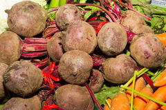 Delicious fresh ripe beetroots. On sale at local fruit market Stock Photos
