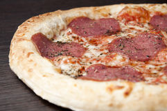 Delicious fresh salami pizza Royalty Free Stock Image