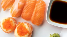 Delicious Fresh Salmon Nigiri Sushi stock image