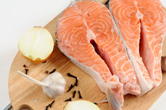Delicious fresh salmon steak Stock Photos