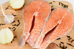 Delicious fresh salmon steak Royalty Free Stock Photos